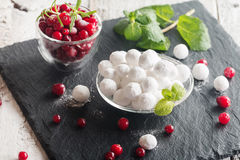 Bowl of sugared cranberries royalty free stock images