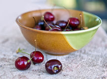 Bowl of Summer Cherries Stock Images