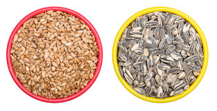 Bowl of sunflower seeds Stock Photography