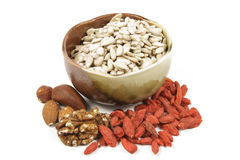 Bowl of Sunflower Seeds with Mixed Nuts Royalty Free Stock Photos