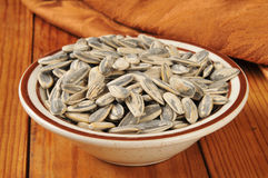 Bowl of sunflower seeds Stock Photos
