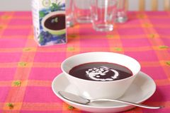 Bowl of sweet blueberry soup Stock Photography