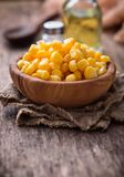 Bowl of  a sweet corn. Selective focus Royalty Free Stock Images