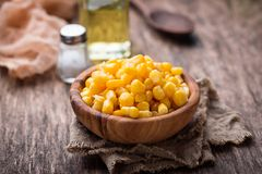 Bowl of  a sweet corn. Selective focus Stock Photography