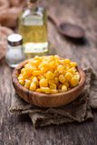 Bowl of  a sweet corn. Selective focus Royalty Free Stock Photography