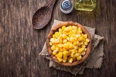 Bowl of  a sweet corn. Selective focus Stock Image
