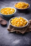 Bowl of  a sweet corn. Selective focus Stock Images