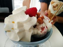Bowl of sweet icecream with nuts and fruits Royalty Free Stock Photography