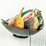 Bowl of sweet ripe succulent figs Royalty Free Stock Images