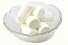 Bowl of sweet soft marshmallows Stock Images