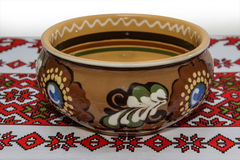 Bowl on the tablecloth Stock Photo