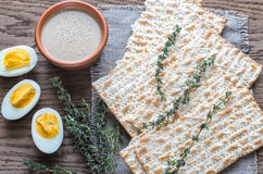 Bowl of tahini with matzos Royalty Free Stock Image