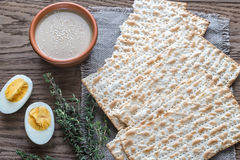 Bowl of tahini with matzos Stock Photos