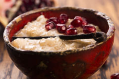 A bowl of tapioca pudding. With vanilla and pomegranate Royalty Free Stock Image