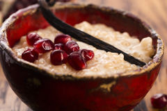 A bowl of tapioca pudding. With vanilla and pomegranate Stock Photography