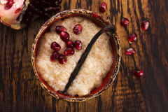 A bowl of tapioca pudding. With vanilla and pomegranate Royalty Free Stock Photography