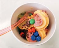 A bowl of tasty frozen yogurt with chocolate and fruits royalty free stock photo