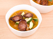 Bowl of tasty homemade spicy soup Royalty Free Stock Photo