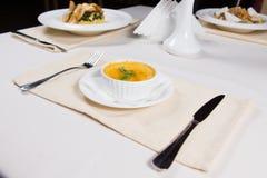 Bowl of tasty seasonal autumn butternut soup Stock Photo