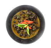 Bowl of thai food- curry with pond snail Stock Images