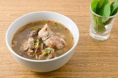 Bowl Of Thai Spicy Beef Entrails Soup Stock Images