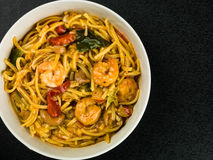 Bowl of Thai Spicy King Prawn Noodles Royalty Free Stock Images