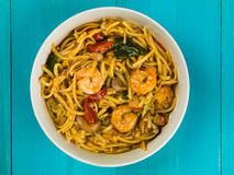 Bowl of Thai Spicy King Prawn Noodles Stock Image