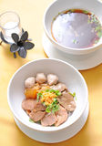 Bowl of thai style beef noodle soup Royalty Free Stock Photography