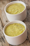 A bowl of thick, fresh, pea soup. Stock Image