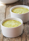 A bowl of thick, fresh, pea soup. Royalty Free Stock Image