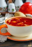 Meat soup goulash in a ceramic bowl. Stock Photo