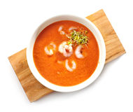 Bowl of tomato cream soup Stock Image