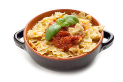 Bowl of Tomato farfalle Stock Images