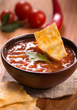 Bowl of tomato sauce Stock Images