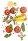 Bowl of tomato sauce with fresh ingredients Stock Photos