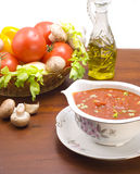 Bowl of tomato sauce with herbs Stock Images