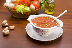 Bowl of tomato sauce with herbs Stock Photo