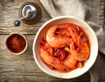 Bowl of tomato and shrimp soup Stock Photo