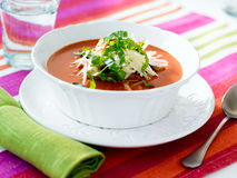 Bowl of tomato soup Stock Images