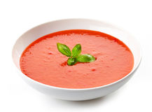 Bowl of tomato soup with basil Royalty Free Stock Image