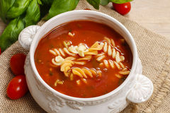Bowl of tomato soup and basil plant Royalty Free Stock Photos