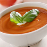 Bowl of tomato soup close up. Royalty Free Stock Image
