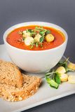 A bowl with Tomato Soup with Croutons and Herbs Royalty Free Stock Image