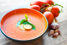 Bowl of tomato soup gaspacho Royalty Free Stock Image