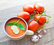 Bowl of tomato soup gaspacho Stock Photo