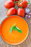 Bowl of tomato soup gaspacho Royalty Free Stock Photography