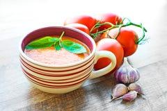 Bowl of tomato soup gaspacho Royalty Free Stock Photo