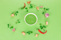 Bowl of tomato soup on a green background. Stock Images