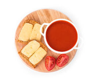 Bowl of tomato soup with toast. Stock Images
