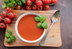 Bowl with tomato soup Stock Photo